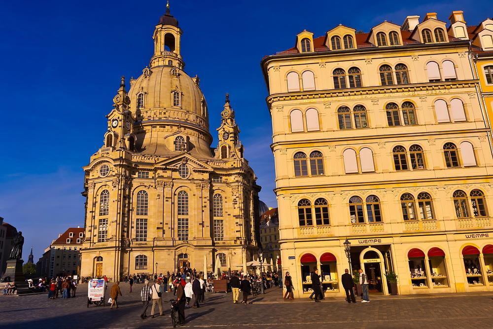 Frauenkirche (church) and the Neumarkt (New Market district), Dresden, Saxony, Germany