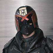 Daniel Lustigat dressed as Judge Dredd at the 2021 New York Comic Con at the Javits Center in Manhattan, New York on Thursday, October 7, 2021. John Taggart for The New York Times