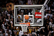 SHOT 2/19/14 11:27:03 PM - A shot rattles around the hoop before falling through during Colorado and Arizona State's regular season Pac-12 basketball game at the Coors Events Center in Boulder, Co. Colorado won the game 61-52.<br /> (Photo by Marc Piscotty / © 2014)