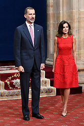 Queen Letizia and King Felipe VI of Spain attend an audience with Princesa de Asturias Awards 2018 winners at the Reconquista Hotel on October 19, 2018 in Oviedo, Spain. Photo by Archie Andrews/ABACAPRESS.COM