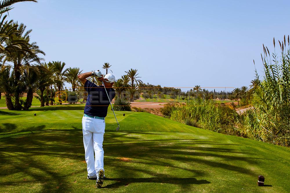 06-10-2015 -  Foto van Uitdagende holes bij Assoufid Golf Club in Marrakech, Marokko. De 18 holes van de Assoufid Golf Club zijn ontworpen door Niall Cameron. Bij helder weer bieden enkele holes fraaie uitzichten op het Atlas gebergte.