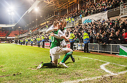 Hibernian's Liam Craig celebrates after scoring their second goal, with Hibernian's James Collins in front of the fans.<br /> Dundee United 2 v 2 Hibernian, Scottish Premiership game today at Tanadice.