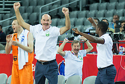 05-09-2015 CRO: FIBA Europe Eurobasket 2015 Georgie - Nederland, Zagreb<br /> Toon van Helfteren, head coach of Netherlands and players of Netherlands celebrate after winning during basketball match between Georgia and Netherlands at Day 1 in Group C of FIBA Europe Eurobasket 2015, on September 5, 2015, in Arena Zagreb, Croatia. Photo by Vid Ponikvar / RHF