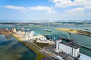 Nederland, Zuid-Holland, Rotterdam, 10-06-2015; Europoort met Beneluxhaven en Dintelhaven (links). Aan de Elbeweg graansilo's van European Bulk Services (EBS).<br /> Rotterdam Europoort with grain silos<br /> luchtfoto (toeslag op standard tarieven);<br /> aerial photo (additional fee required);<br /> copyright foto/photo Siebe Swart