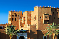 Exterior of the mud brick Kasbah of Taourirt, Ouarzazate, Morocco, built by Pasha Glaoui. A Unesco World Heritage Site .<br /> <br /> Visit our MOROCCO HISTORIC PLAXES PHOTO COLLECTIONS for more   photos  to download or buy as prints https://funkystock.photoshelter.com/gallery-collection/Morocco-Pictures-Photos-and-Images/C0000ds6t1_cvhPo<br /> .<br /> <br /> Visit our ISLAMIC HISTORICAL PLACES PHOTO COLLECTIONS for more photos to download or buy as wall art prints https://funkystock.photoshelter.com/gallery-collection/Islam-Islamic-Historic-Places-Architecture-Pictures-Images-of/C0000n7SGOHt9XWI