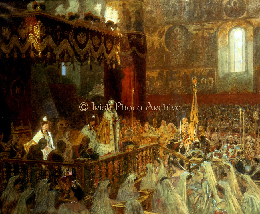 Tsar Nicholas II of Russia's coronation1896 in Uspensky Cathedral, Moscow. By Laurits Tuxen (1853-1927), 1918.