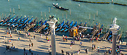 Piazzetta di San Marco. Molo (the quay fronting the lagoon) with gondolas at the gondola station
