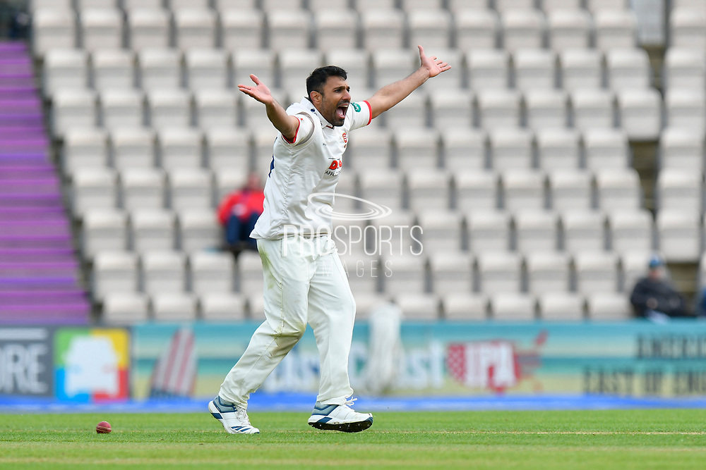 Wicket - Ravi Bopara of Essex sucessfully appeals for the wicket of James Vince of Hampshire during the first day of the Specsavers County Champ Div 1 match between Hampshire County Cricket Club and Essex County Cricket Club at the Ageas Bowl, Southampton, United Kingdom on 5 April 2019.