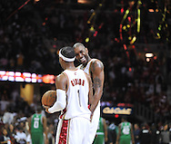 Joe Smith, back, and Daniel Gibson celebrate a victory..The Cleveland Cavaliers defeated the Boston Celtics 108-84 in Game 3 of the Eastern Conference Semi-Finals at Quicken Loans Arena in Cleveland.