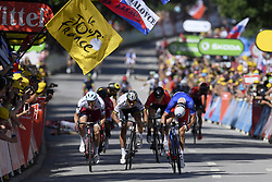 July 4, 2017 - Mondorf Les Bains / Vittel, Luxembourg / France - VITTEL, FRANCE - JULY 4 : KRISTOFF Alexander (NOR) Rider of Team Katusha - Alpecin, SAGAN Peter (SVK) Rider of Team Bora - Hansgrohe, DEMARE Arnaud (FRA) Rider of FDJ during stage 4 of the 104th edition of the 2017 Tour de France cycling race, a stage of 207.5 kms between Mondorf-Les-Bains and Vittel on July 04, 2017 in Vittel, France, 4/07/2017 (Credit Image: © Panoramic via ZUMA Press)