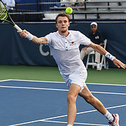 ALEXANDER BUBLIK hits a volley at the Rock Creek Tennis Center.