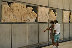 People visit the Acropolis Museum, as museums open following the easing of measures against the spread of the coronavirus disease (COVID-19), a day before the official opening of the tourism season, in Athens, Greece, May 14, 2021<br /> <br /> Dimitris Lampropoulos| EdinburghElitemedia