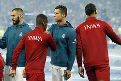 (L-R) Karim Benzema of Real Madrid, Georginio Wijnaldum of Liverpool FC, Cristiano Ronaldo of Real Madrid, Virgil van Dijk of Liverpool FC, during the UEFA Champions League final between Real Madrid and Liverpool on May 26, 2018 at NSC Olimpiyskiy Stadium in Kyiv, Ukraine