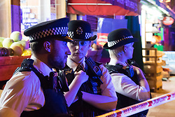 """Finsbury Park, London, June 19th 2017. A major police and emergency services operation with firearms officers in attendance is underway near Finsbury Park Mosque following reports of Several people being injured after a van struck a crowd of pedestrians near a north London mosque in what police have called a """"major incident""""."""