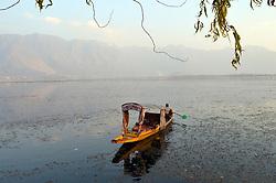A Kashmiri man rows his boat across Dal lake on a sunny day in Srinagar, the summer capital of Indian controlled Kashmie, India, Friday 16 November 2018. (Masrat Zahra/ZUMA Press)