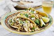 Grilled corn chicken tacos on vintage televera plate