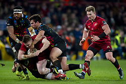 March 23, 2019 - Limerick, Ireland - Rory Scannell of Munster tackled by Tommaso Boni of Zebre during the Guinness PRO14 match between Munster Rugby and Zebre at Thomond Park Stadium in Limerick, Ireland on March 23, 2019  (Credit Image: © Andrew Surma/NurPhoto via ZUMA Press)