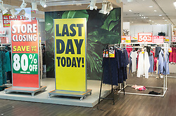 © Licensed to London News Pictures. 13/08/2016. Shop floor of British Homes Stores Oxford Street Flagship store as it closes on its last day of trading. London, UK. Photo credit: Ray Tang/LNP
