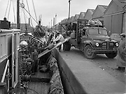 1/10/1958<br /> 10/1/1958<br /> 1 October 1958<br /> Loading a French Trawler at Ringsend, Dublin. Trawler taking on supplies.