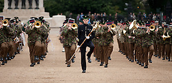 © Licensed to London News Pictures. 12/06/2012. LONDON, UK. The Massed Bands of the British Army's Household Division carry out a dress rehearsal ahead of the annual Beating Retreat ceremony in London today (12/06/12). Photo credit: Matt Cetti-Roberts/LNP