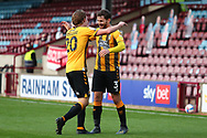 GOAL Cambridge United  5 Scunthorpe United 0 Joe Ironside celbebrates with Jack Iredale after he headed home  during the EFL Sky Bet League 2 match between Scunthorpe United and Cambridge United at Glanford Park, Scunthorpe, England on 17 October 2020.