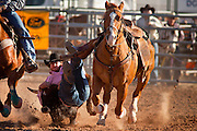 26 NOVEMBER 2011 - CHANDLER, AZ:  DEAN MCINTYRE transitions from his horse to the steer in the steer wrestling at the Grand Canyon Pro Rodeo Association (GCPRA) Finals at Rawhide Western Town in west Chandler, AZ, about 20 miles from Phoenix Saturday. The GCPRA Finals is the last rodeo of the GCPRA season. The GCPRA is a professional rodeo association based in Arizona.       PHOTO BY JACK KURTZ