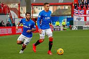 Rangers pair James Tavernier & Daniel Candeias during the Ladbrokes Scottish Premiership match between Hamilton Academical FC and Rangers at The Hope CBD Stadium, Hamilton, Scotland on 24 February 2019.