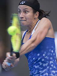 BEIJING, Oct. 6, 2018  Anastasija Sevastova of Latvia hits a returns during the women's singles semifinal match against Naomi Osaka of Japan at 2018 China Open tennis tournament in Beijing, capital of China, Oct. 6, 2018. Anastasija Sevastova won 2-0. (Credit Image: © Fei Maohua/Xinhua via ZUMA Wire)