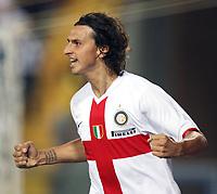 Empoli 01/09/2007<br /> Campionato Italiano Serie A 2007/08<br /> Empoli-Inter (0-2)<br /> Photo Luca Pagliaricci INSIDE<br /> ricci INSIDE<br /> Esultanza Zlatan Ibrahimovic (Inter) dopo il gol dell'1-0<br /> Zlatan Ibrahimovic (Inter) celebrates after scoring first goal