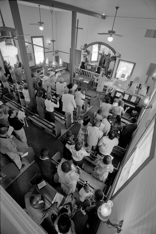 A view from the gallery of Daufuskie Island's First Union Baptist Church on Easter Sunday.