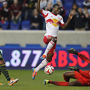 Goalkeeper Donovan Ricketts, Portland Timbers, makes a fine save at the feet of Bradley Wright-Phillips, New York Red Bulls,  during the New York Red Bulls Vs Portland Timbers, Major League Soccer regular season match at Red Bull Arena, Harrison, New Jersey. USA. 24th May 2014. Photo Tim Clayton