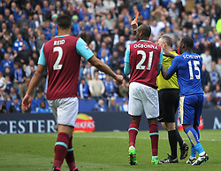 Jamie Vardy of Leicester City (Hidden) is sent off for appearing to dive - Mandatory by-line: Jack Phillips/JMP - 17/04/2016 - FOOTBALL - King Power Stadium - Leicester, England - Leicester City v West Ham United - Barclays Premier League