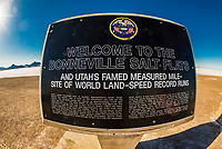 Bonneville Salt Flats, Utah USA. Numerous world land speed records for autos and motorcycles have been set here.