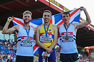 Silver medalist Josh KERR, gold medalist Neil GOURLEY and bronze medalist Jake WIGHTMAN after the Men's 1500m Final during the Muller British Athletics Championships at Alexander Stadium, Birmingham, United Kingdom on 25 August 2019.