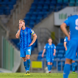 BRISBANE, AUSTRALIA - SEPTEMBER 20: Justyn McKay of Gold Coast City reacts during the Westfield FFA Cup Quarter Final match between Gold Coast City and South Melbourne on September 20, 2017 in Brisbane, Australia. (Photo by Gold Coast City FC / Patrick Kearney)