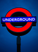 Iconic Underground, or Tube, neon sign in London, Great Britain