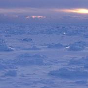 Ice over Churchill, Manitoba. Canada. Sunset.