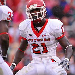 Sep 26, 2009; College Park, MD, USA; Rutgers cornerback Devin Mccourty (21) celebrates a big hit during the first half of Rutgers' 34-13 victory over Maryland in NCAA college football at Byrd Stadium.
