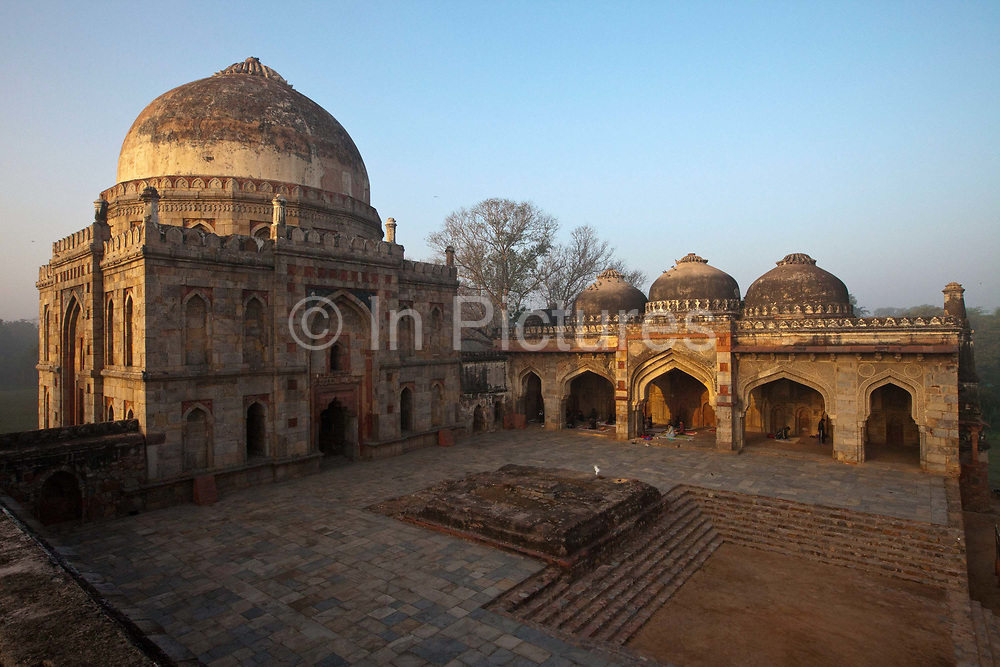 The Bara Gumbad and the Mehman Khana, Lodhi Gardens, New Delhi, India. The site is now protected by the Archeological Survey of India. The gardens are a hotspot for morning walks for the Delhiites.