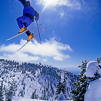 """SKIING, Brian Schott (MR) jumps a """"snow ghost"""" at The Big Mountain Ski Area, Whitefish, MT."""