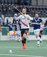 AMSTELVEEN - Nicki Leijs (Amsterdam)    tijdens   hoofdklasse hockeywedstrijd mannen,  AMSTERDAM-PINOKE (1-3) , die vanwege het heersende coronavirus zonder toeschouwers werd gespeeld.  . COPYRIGHT KOEN SUYK