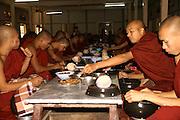 Myanmar Amarapura, Mahagandayon Monastery, Buddhist Monastery, Monks at meal time