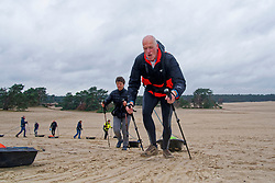 Erik and Mirjam in training for the Camino 2020 at the Soesterduinen on March 08, 2020 in Soest, Netherlands