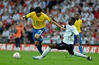 Photo: Richard Lane.<br />England v Brazil. International Friendly. 01/06/2007. <br />Brazil's Kaka breaks past England's Ledley King.