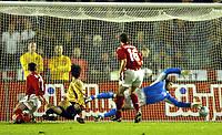 Photo: Richard Lane.<br /> Sweden v England. International Friendly. 31/03/2004.<br /> Zlatan Ibrahimovic slots the ball past David James for a goal.