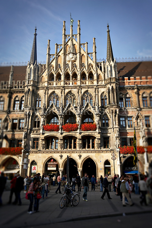 The New Town Hall and Facade of the Rathskeller Restaurant in Munich, Germany