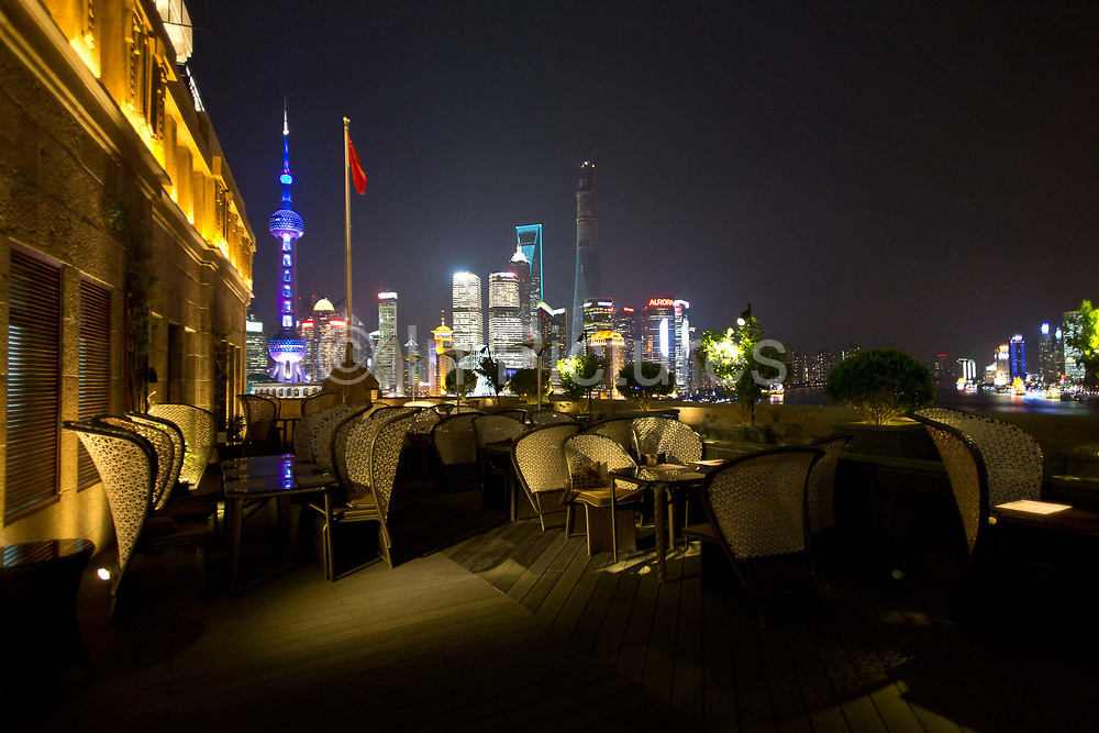 View from the balcony of the renovated Peace Hotel in Shanghai, China on 15 November, 2013. Built originally as the Cathay Hotel by Sir Victor Sassoon in the early 20th century, the hotel is now operated by Canada's Fairmont Hotels and Resorts but still has a commanding view of the Huangpu River and the stunning modern skyline of Pudong.