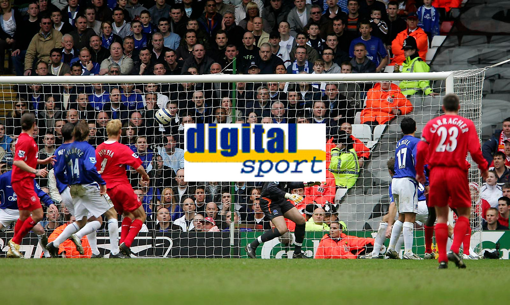 Photo: Andrew Unwin.<br />Liverpool v Everton. The Barclays Premiership. 25/03/2006.<br />Liverpool get their first goal, reported to be an own goal by Phil Neville (not in picture).
