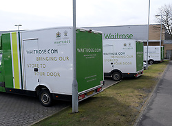 General views of Stirling City centre and shops during the Coronavirus outbreak, 18 March 2020<br /> <br /> Pictured: Waitrose delivery vans were parked up outside the store in Stirling<br /> <br /> Alex Todd | Edinburgh Elite media