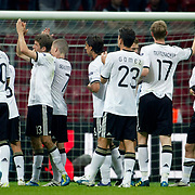 Germany's players celebrate victory during their UEFA EURO 2012 Qualifying round Group A matchday 19 soccer match Turkey betwen Germany at TT Arena in Istanbul October 7, 2011. Photo by TURKPIX